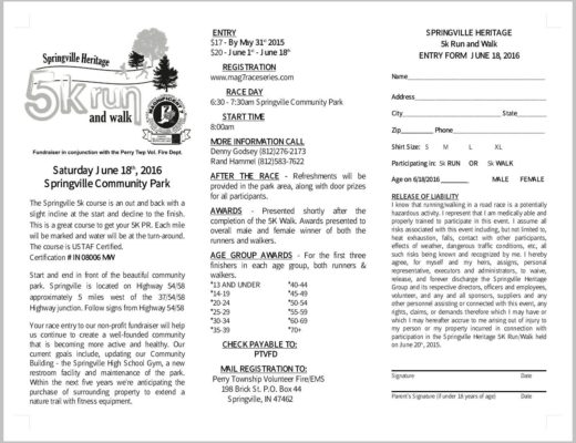 2016 5k Run and Walk Flyer
