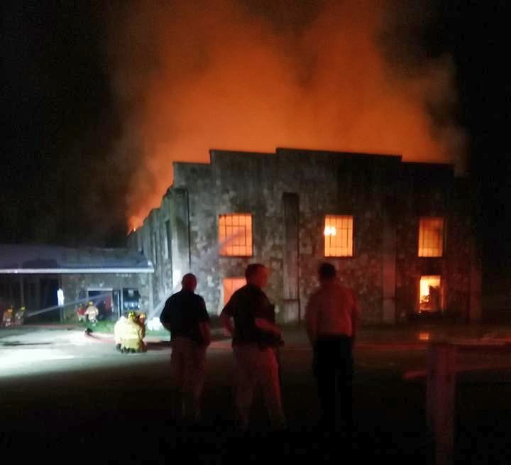 The Old Gym on fire